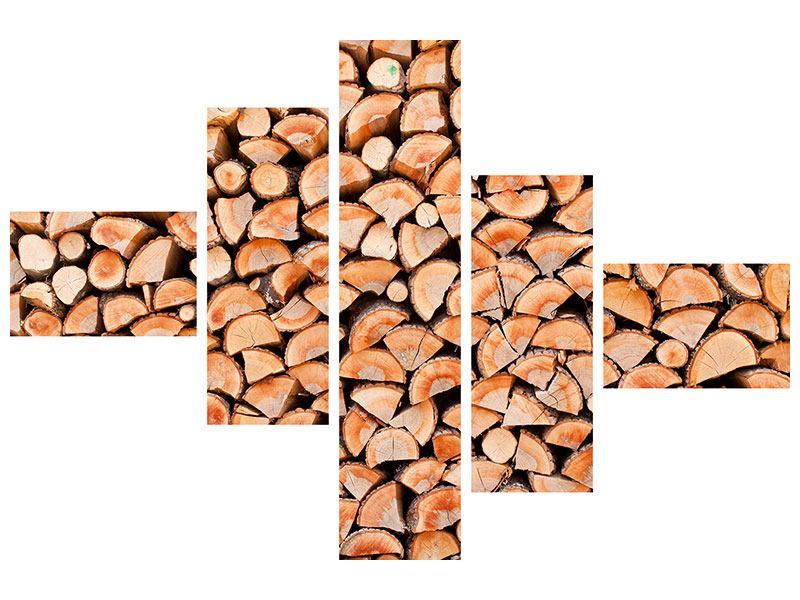 Hartschaumbild 5-teilig modern Birkenstapel