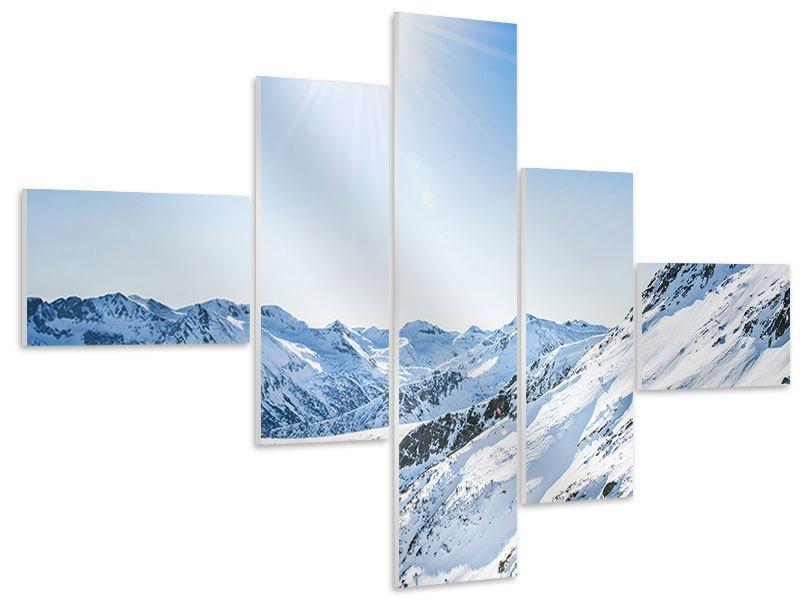 Hartschaumbild 5-teilig modern Bergpanorama im Schnee