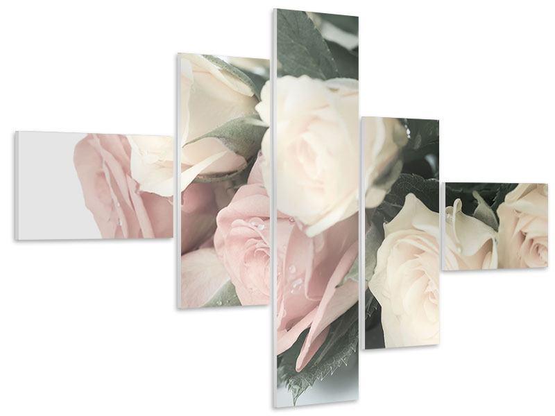 Hartschaumbild 5-teilig modern Rosenromantik