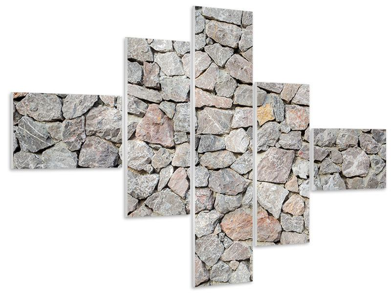Hartschaumbild 5-teilig modern Grunge-Stil Mauer