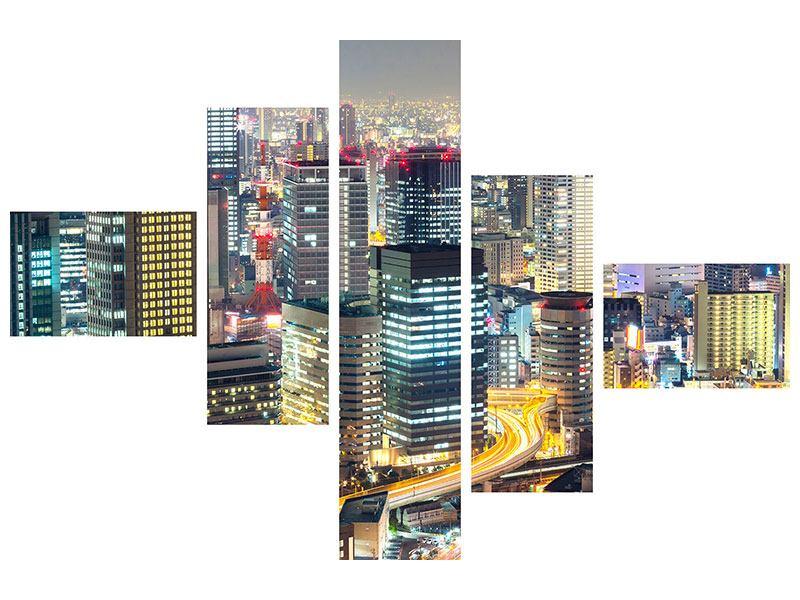 Hartschaumbild 5-teilig modern Skyline Osaka im Lichtermeer