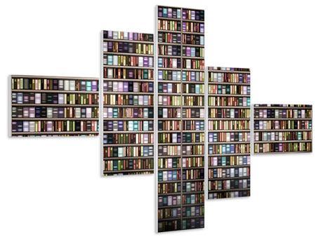 Hartschaumbild 5-teilig modern Bücherregal