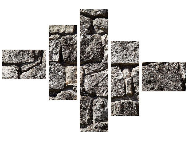 Hartschaumbild 5-teilig modern Grosses Mauerwerk