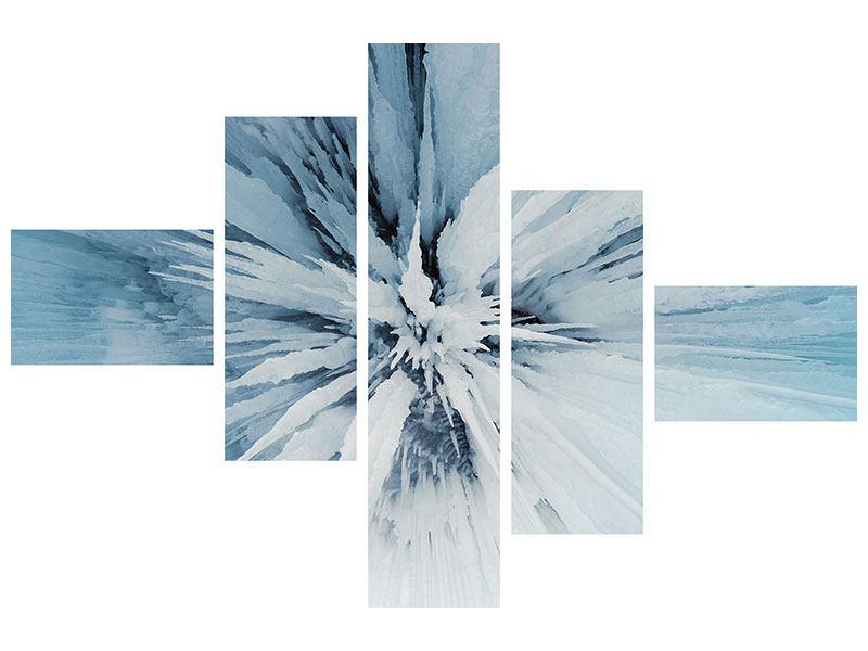 Hartschaumbild 5-teilig modern Eiskunst
