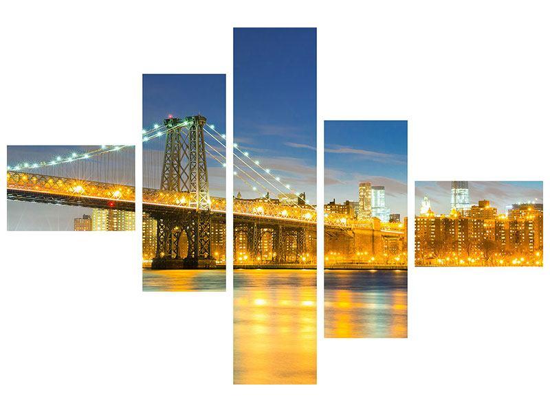 Hartschaumbild 5-teilig modern Brooklyn Bridge bei Nacht