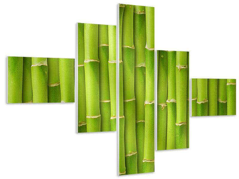 Hartschaumbild 5-teilig modern Bambuswand