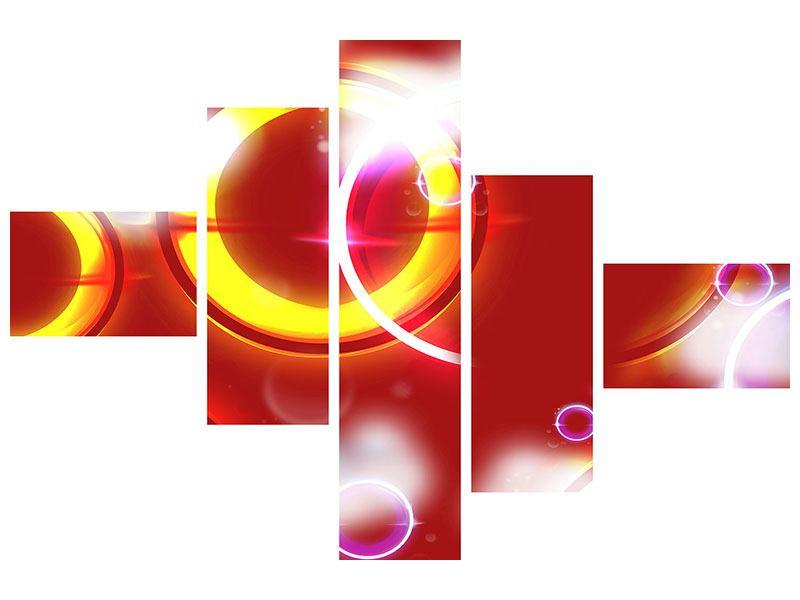 Hartschaumbild 5-teilig modern Abstraktes Retro