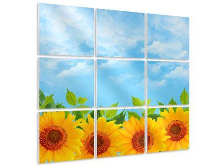 Hartschaumbild 9-teilig Sonnen Flower Power