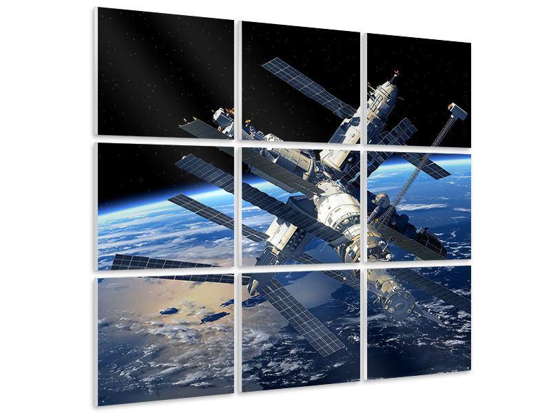 Hartschaumbild 9-teilig Raumstation