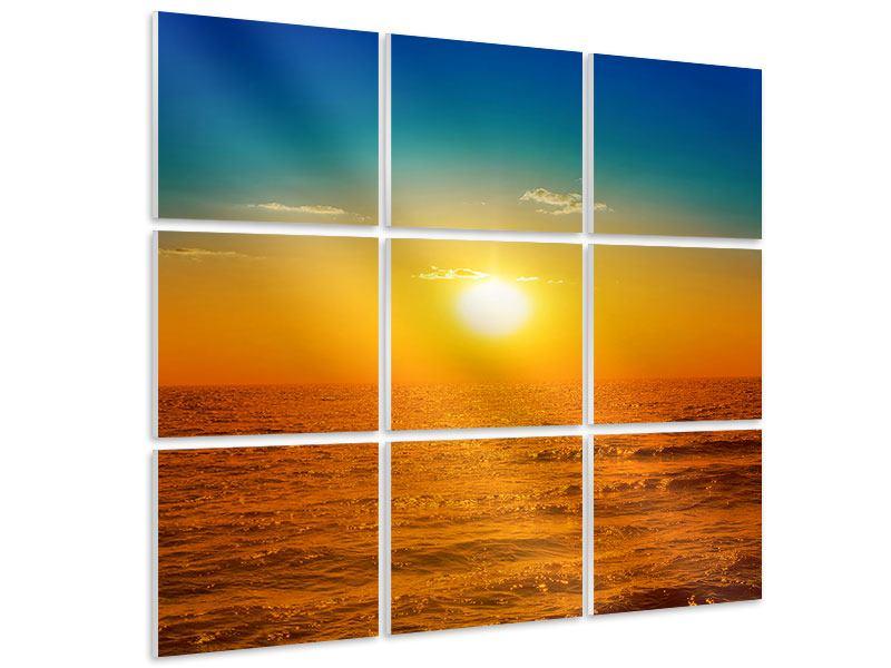 Hartschaumbild 9-teilig Das Meer im Sonnenuntergang