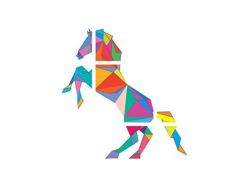 Hartschaumbild 9-teilig Origami Pferd