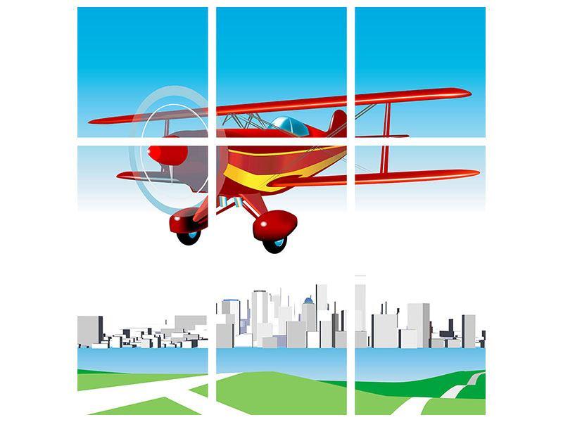 Hartschaumbild 9-teilig Fliegendes Flugzeug
