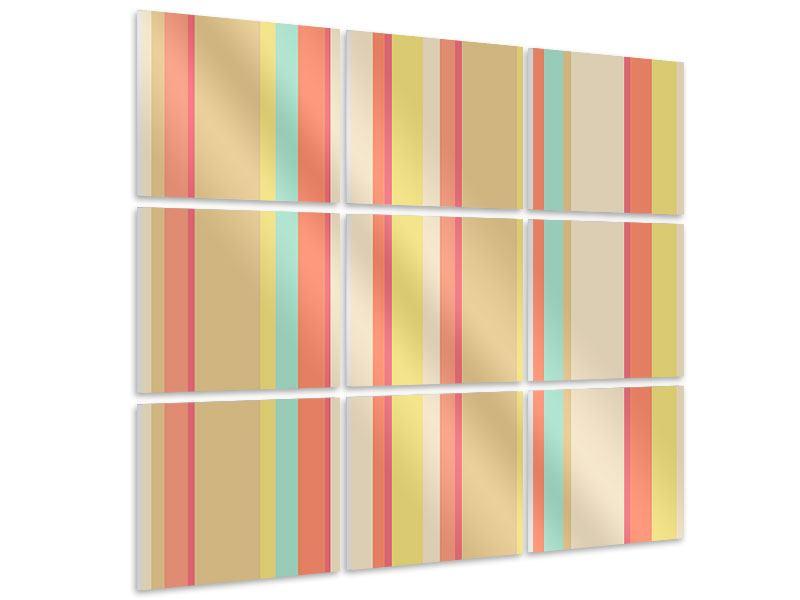 Hartschaumbild 9-teilig Pastell Streifen