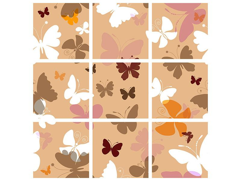 Hartschaumbild 9-teilig Retrodesign Schmetterlinge