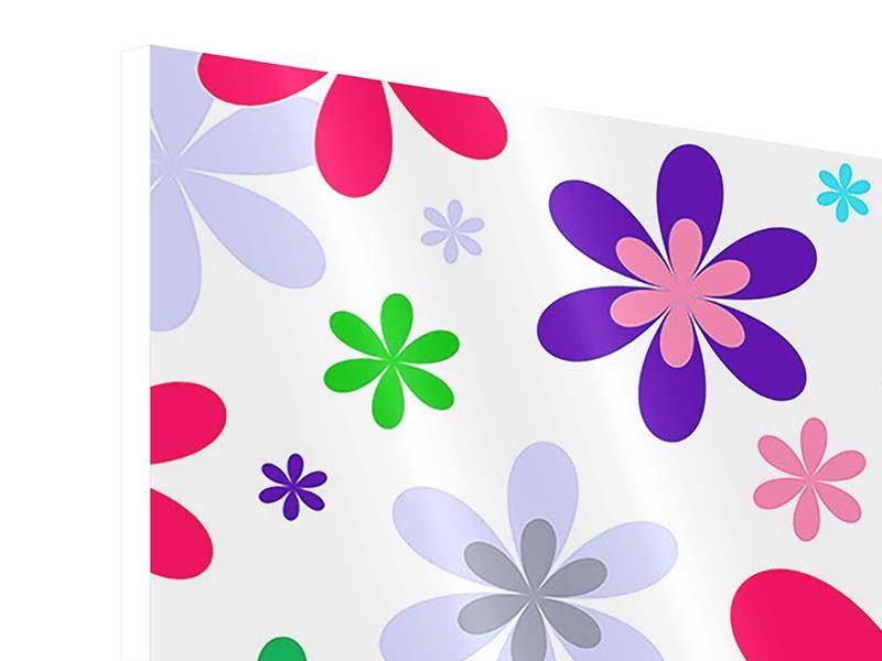 Hartschaumbild 9-teilig Retromode Blumen