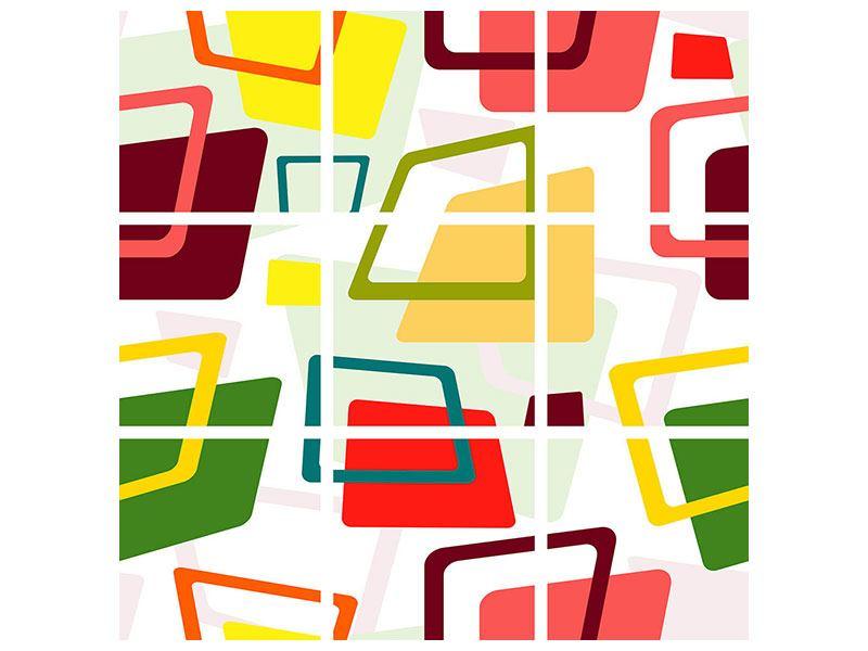 Hartschaumbild 9-teilig Rechtecke im Retrodesign