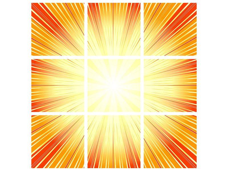 Hartschaumbild 9-teilig Abstrakte Retro Sonne