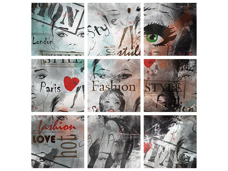 Hartschaumbild 9-teilig I Love Paris