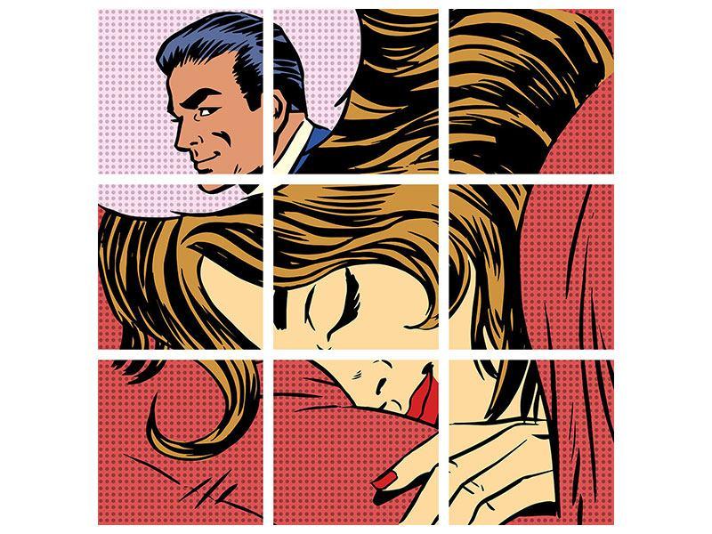 Hartschaumbild 9-teilig Pop Art Lovely Dreams