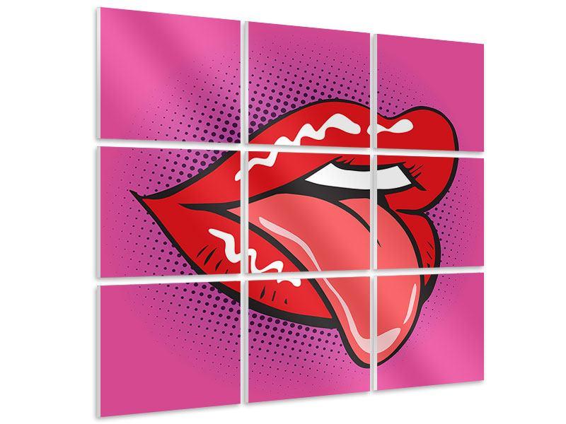 Hartschaumbild 9-teilig Pop Art Mund