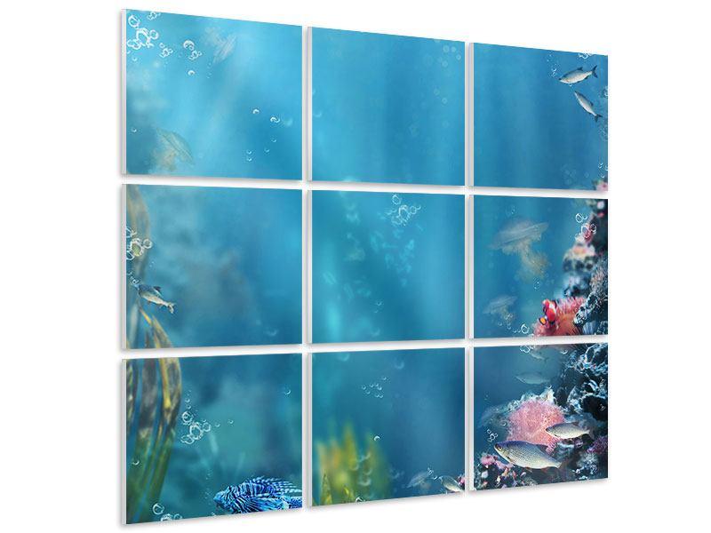 Hartschaumbild 9-teilig Unter Wasser