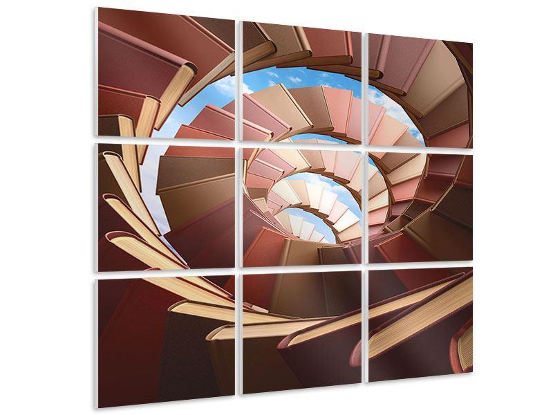 Hartschaumbild 9-teilig Abstrakte Bücher-Wendeltreppe