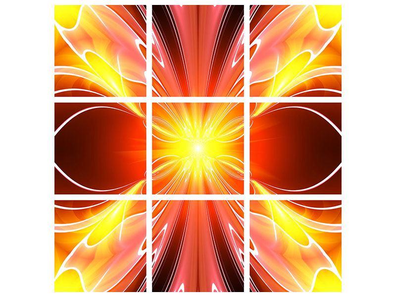 Hartschaumbild 9-teilig Abstraktes Farbenspektakel