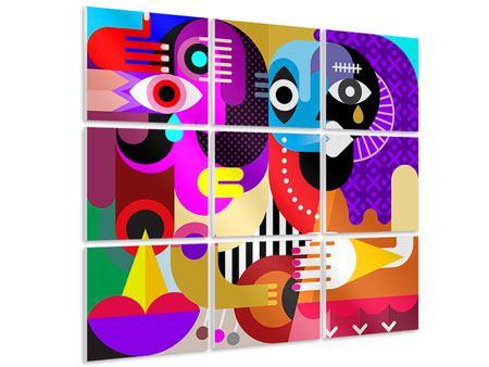 Hartschaumbild 9-teilig Moderne Kunst People