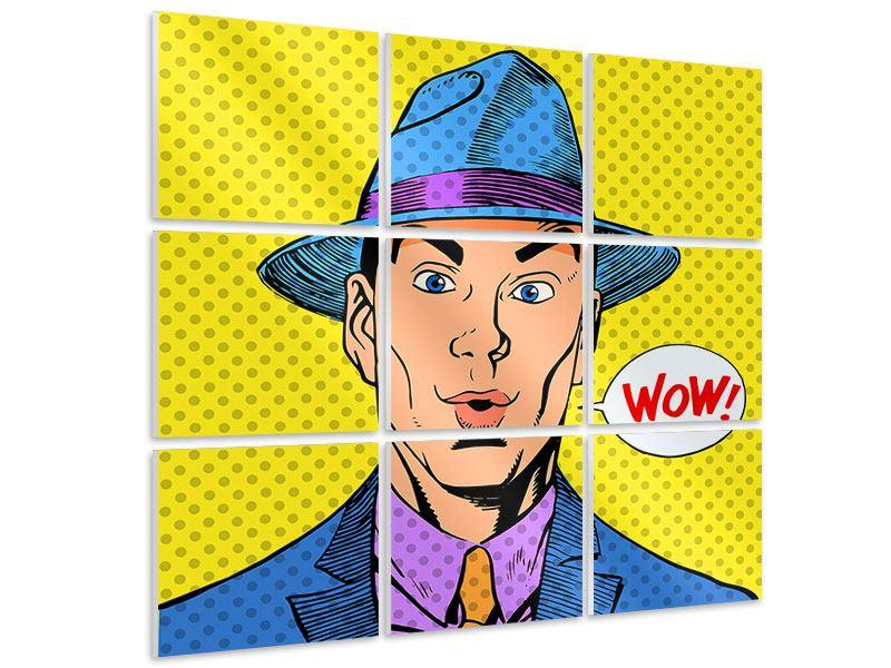 Hartschaumbild 9-teilig Pop Art Wow