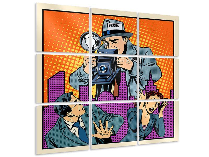 Hartschaumbild 9-teilig Pop Art Paparazzi