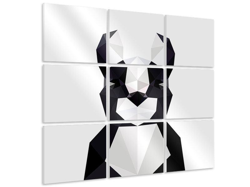 Hartschaumbild 9-teilig Origami Bulldogge