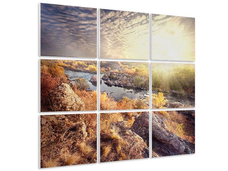 Hartschaumbild 9-teilig Sonnenaufgang am Fluss