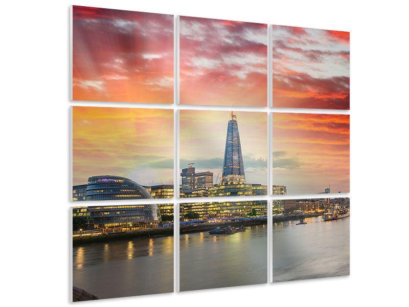Hartschaumbild 9-teilig Skyline London im Abendrot