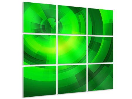 Hartschaumbild 9-teilig Perspektiven in Grün