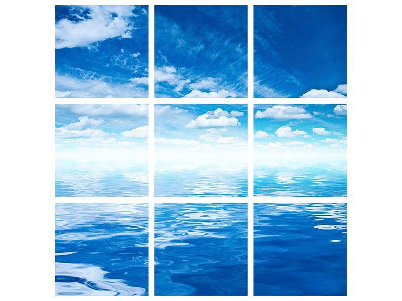 Hartschaumbild 9-teilig Himmel und Wasser
