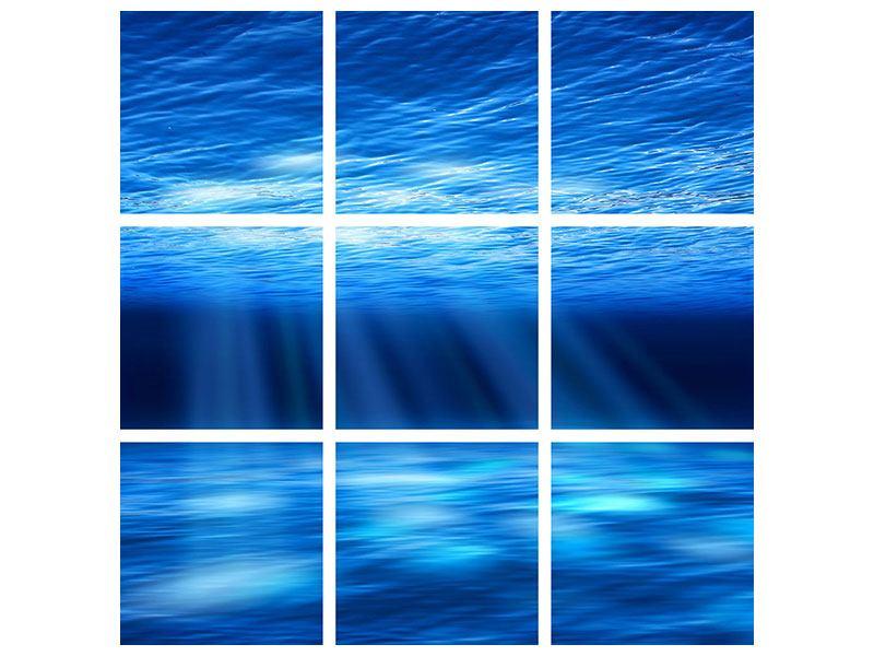 Hartschaumbild 9-teilig Licht unter Wasser