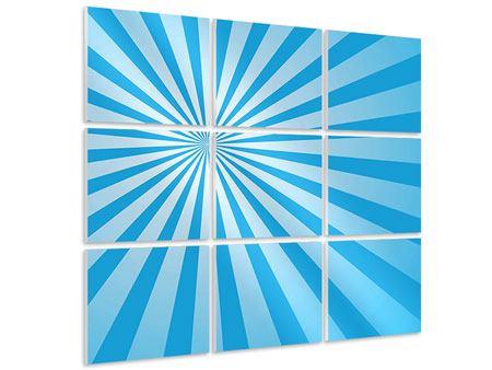 Hartschaumbild 9-teilig Retrowelle Streifenperspektive