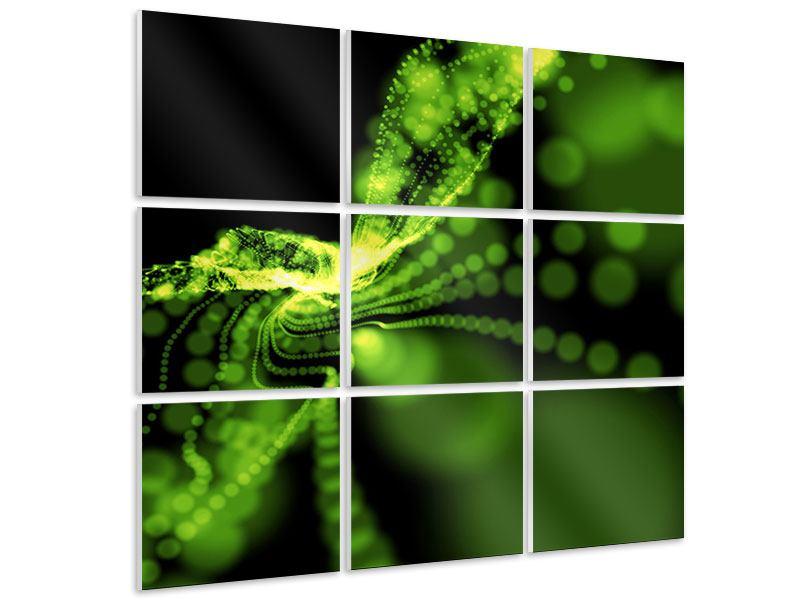 Hartschaumbild 9-teilig Grünes Lichterspiel