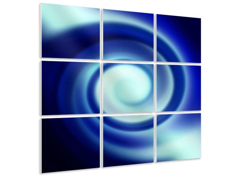 Hartschaumbild 9-teilig Abstrakte Blaue Wirbel