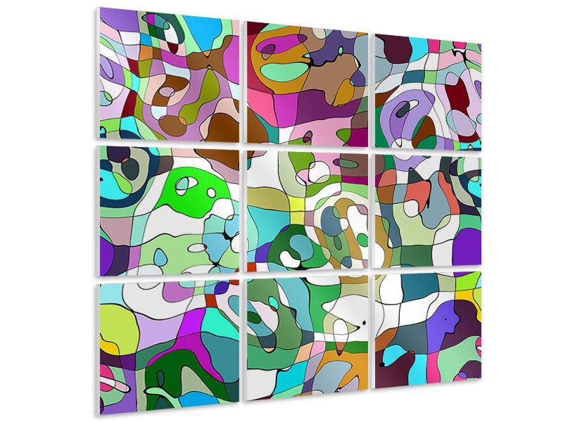 Hartschaumbild 9-teilig Kubistisches Gemälde