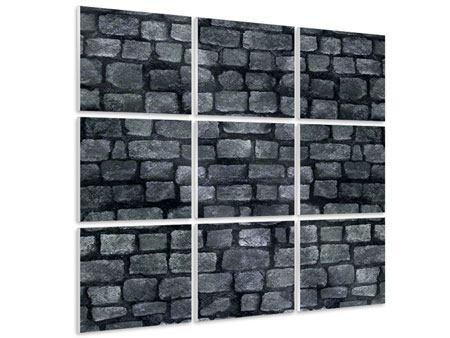 Hartschaumbild 9-teilig Graue Steinmauer