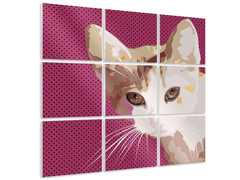Hartschaumbild 9-teilig Pop Art Katze