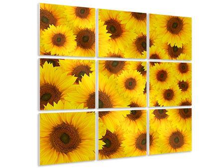 Hartschaumbild 9-teilig Ein Strauss Sonnenblumen