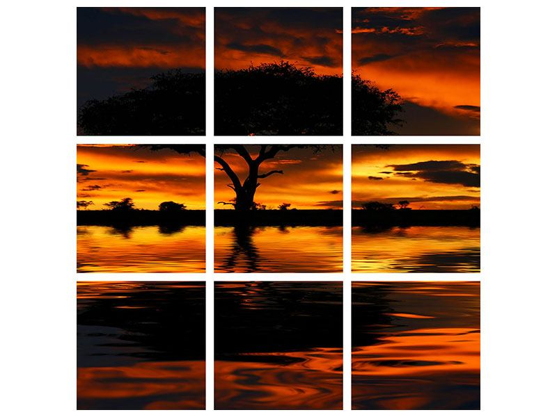Hartschaumbild 9-teilig Sonnenuntergang in Kenia