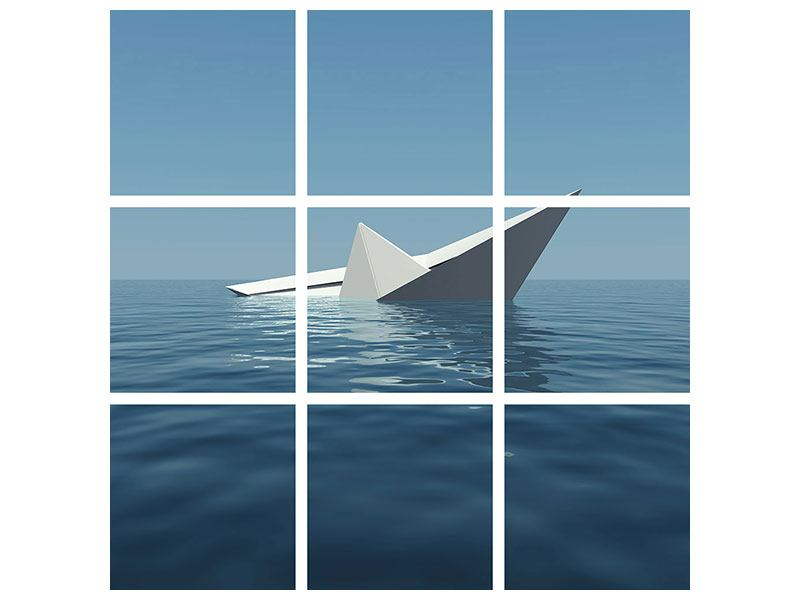 Hartschaumbild 9-teilig Papierschiffchen