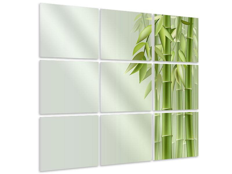 Hartschaumbild 9-teilig Bambuswall