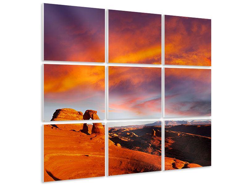Hartschaumbild 9-teilig Sonnenuntergang im Canon