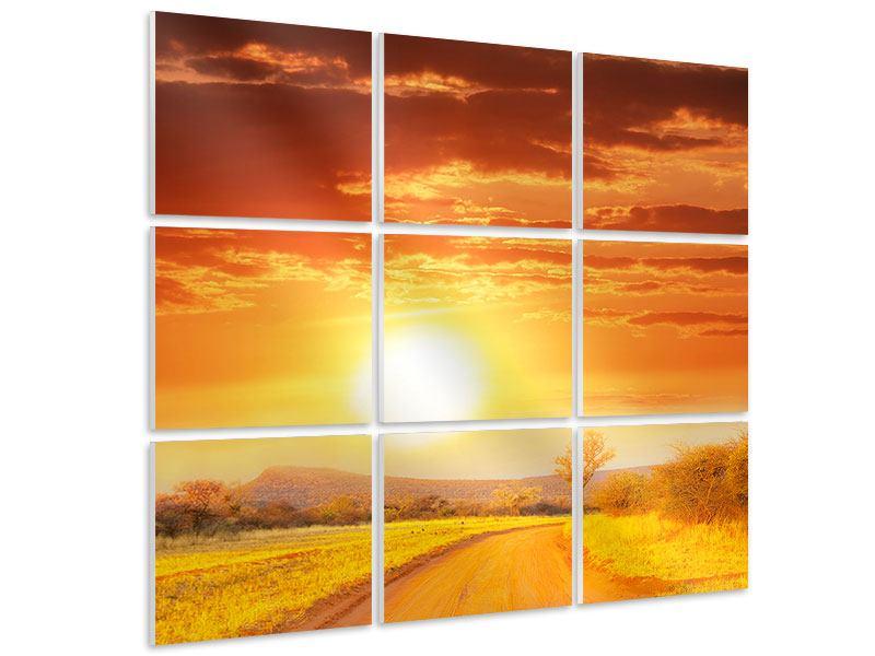 Hartschaumbild 9-teilig Sonnenuntergang in der Savanne