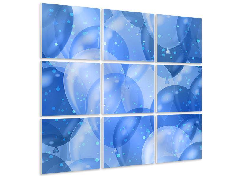 Hartschaumbild 9-teilig Blaue Ballons