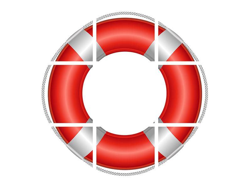 Hartschaumbild 9-teilig Rettungsring